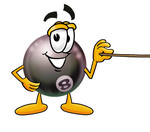 Clip Art Graphic of a Billiards Eight Ball Cartoon Character Holding a Pointer Stick
