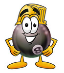 Clip Art Graphic of a Billiards Eight Ball Cartoon Character Wearing a Hardhat Helmet