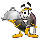 Clip Art Graphic of a Billiards Eight Ball Cartoon Character Dressed as a Waiter and Holding a Serving Platter