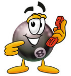 Clip Art Graphic of a Billiards Eight Ball Cartoon Character Holding a Telephone
