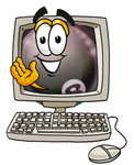 Clip Art Graphic of a Billiards Eight Ball Cartoon Character Waving From Inside a Computer Screen