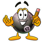 Clip Art Graphic of a Billiards Eight Ball Cartoon Character Holding a Pencil