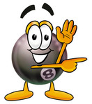 Clip Art Graphic of a Billiards Eight Ball Cartoon Character Waving and Pointing