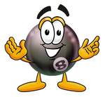 Clip Art Graphic of a Billiards Eight Ball Cartoon Character With Welcoming Open Arms