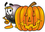Clip Art Graphic of a Billiards Eight Ball Cartoon Character With a Carved Halloween Pumpkin