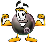 Clip Art Graphic of a Billiards Eight Ball Cartoon Character Flexing His Arm Muscles