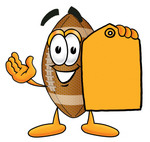 Clip Art Graphic of a Football Cartoon Character Holding a Yellow Sales Price Tag