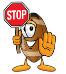 Clip Art Graphic of a Football Cartoon Character Holding a Stop Sign