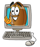 Clip Art Graphic of a Football Cartoon Character Waving From Inside a Computer Screen