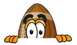 Clip Art Graphic of a Football Cartoon Character Peeking Over a Surface