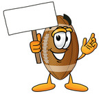 Clip Art Graphic of a Football Cartoon Character Holding a Blank Sign