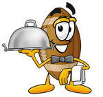 Clip Art Graphic of a Football Cartoon Character Dressed as a Waiter and Holding a Serving Platter