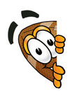 Clip Art Graphic of a Football Cartoon Character Peeking Around a Corner