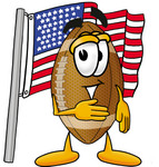 Clip Art Graphic of a Football Cartoon Character Pledging Allegiance to an American Flag