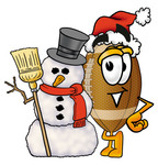 Clip Art Graphic of a Football Cartoon Character With a Snowman on Christmas