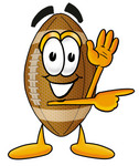 Clip Art Graphic of a Football Cartoon Character Waving and Pointing