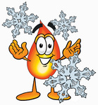 Clip Art Graphic of a Fire Cartoon Character With Three Snowflakes in Winter