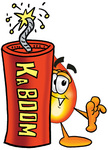 Clip Art Graphic of a Fire Cartoon Character Standing With a Lit Stick of Dynamite