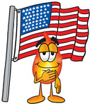 Clip Art Graphic of a Fire Cartoon Character Pledging Allegiance to an American Flag