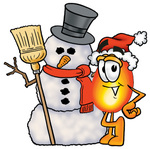 Clip Art Graphic of a Fire Cartoon Character With a Snowman on Christmas