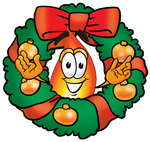 Clip Art Graphic of a Fire Cartoon Character in the Center of a Christmas Wreath