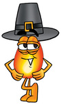 Clip Art Graphic of a Fire Cartoon Character Wearing a Pilgrim Hat on Thanksgiving