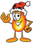 Clip Art Graphic of a Fire Cartoon Character Wearing a Santa Hat and Waving