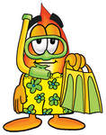 Clip Art Graphic of a Fire Cartoon Character in Green and Yellow Snorkel Gear