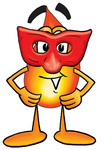 Clip Art Graphic of a Fire Cartoon Character Wearing a Red Mask Over His Face