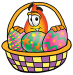 Clip Art Graphic of a Fire Cartoon Character in an Easter Basket Full of Decorated Easter Eggs