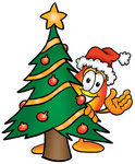 Clip Art Graphic of a Fire Cartoon Character Waving and Standing by a Decorated Christmas Tree