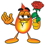 Clip Art Graphic of a Fire Cartoon Character Holding a Red Rose on Valentines Day