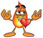 Clip Art Graphic of a Fire Cartoon Character With His Heart Beating Out of His Chest