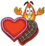 Clip Art Graphic of a Fire Cartoon Character With an Open Box of Valentines Day Chocolate Candies