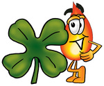 Clip Art Graphic of a Fire Cartoon Character With a Green Four Leaf Clover on St Paddy's or St Patricks Day