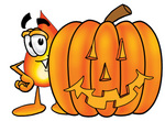 Clip Art Graphic of a Fire Cartoon Character With a Carved Halloween Pumpkin