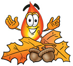 Clip Art Graphic of a Fire Cartoon Character With Autumn Leaves and Acorns in the Fall