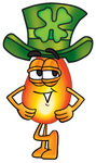 Clip Art Graphic of a Fire Cartoon Character Wearing a Saint Patricks Day Hat With a Clover on it