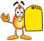 Clip Art Graphic of a Fire Cartoon Character Holding a Yellow Sales Price Tag
