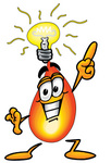 Clip Art Graphic of a Fire Cartoon Character With a Bright Idea