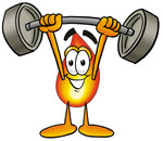 Clip Art Graphic of a Fire Cartoon Character Holding a Heavy Barbell Above His Head