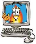 Clip Art Graphic of a Fire Cartoon Character Waving From Inside a Computer Screen