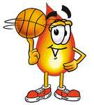 Clip Art Graphic of a Fire Cartoon Character Spinning a Basketball on His Finger