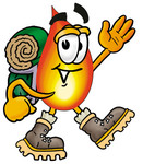 Clip Art Graphic of a Fire Cartoon Character Hiking and Carrying a Backpack