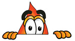 Clip Art Graphic of a Fire Cartoon Character Peeking Over a Surface