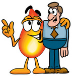 Clip Art Graphic of a Fire Cartoon Character Talking to a Business Man