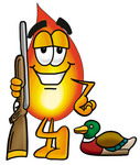 Clip Art Graphic of a Fire Cartoon Character Duck Hunting, Standing With a Rifle and Duck