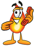 Clip Art Graphic of a Fire Cartoon Character Holding a Telephone