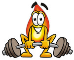 Clip Art Graphic of a Fire Cartoon Character Lifting a Heavy Barbell