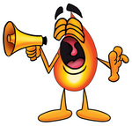 Clip Art Graphic of a Fire Cartoon Character Screaming Into a Megaphone